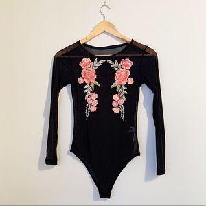Embroidered black sheer bodysuit